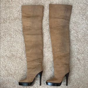 Monika Chiang, Thigh-High boots, Tan Leather, 39!!